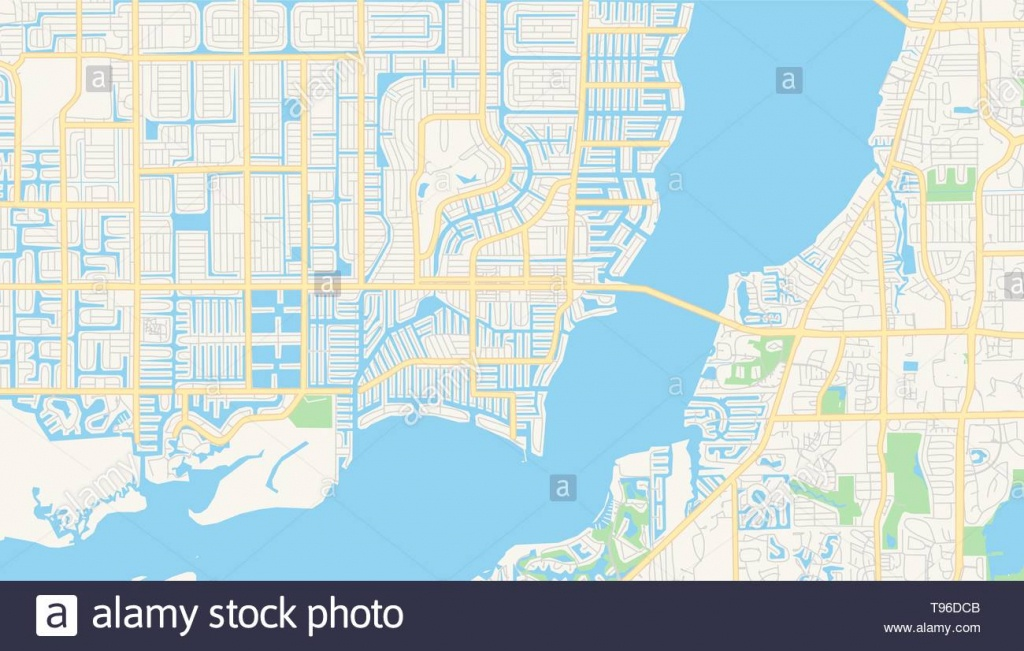 Empty Vector Map Of Cape Coral, Florida, Usa, Printable Road Map - Map Of Florida Including Cape Coral