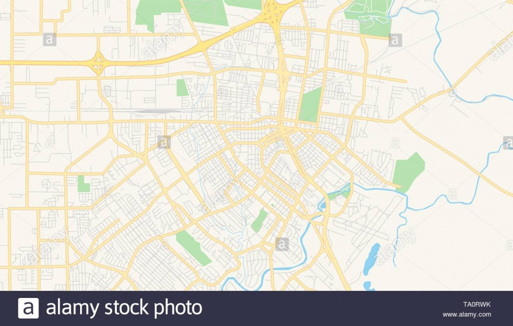 Empty Vector Map Of Lafayette, Louisiana, Usa, Printable Road Map - Printable Map Of Lafayette La