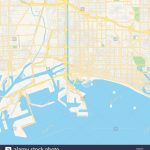 Empty Vector Map Of Long Beach, California, Usa, Printable Road Map - Printable Map Of Long Beach Ca