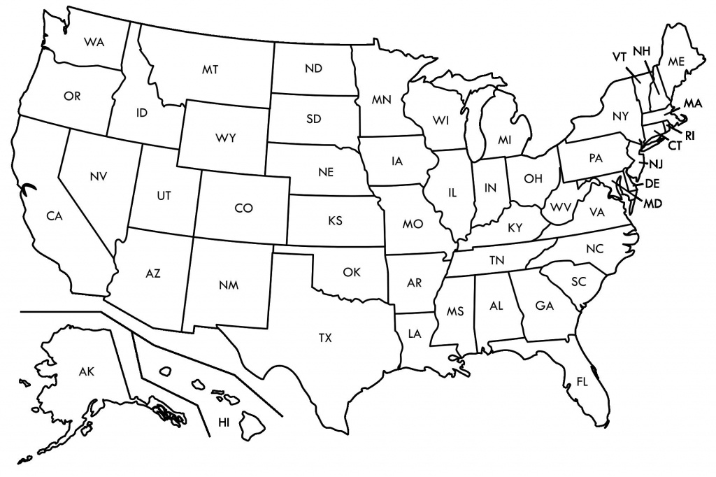 Enthralling Blank Ms Map Us Map Abbreviated States Blank U S Map - Map Of Us Blank Printable