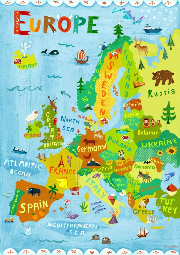 Europe Map Illustration / Digital Print Poster / Kidschengel - Map Of Europe For Kids Printable