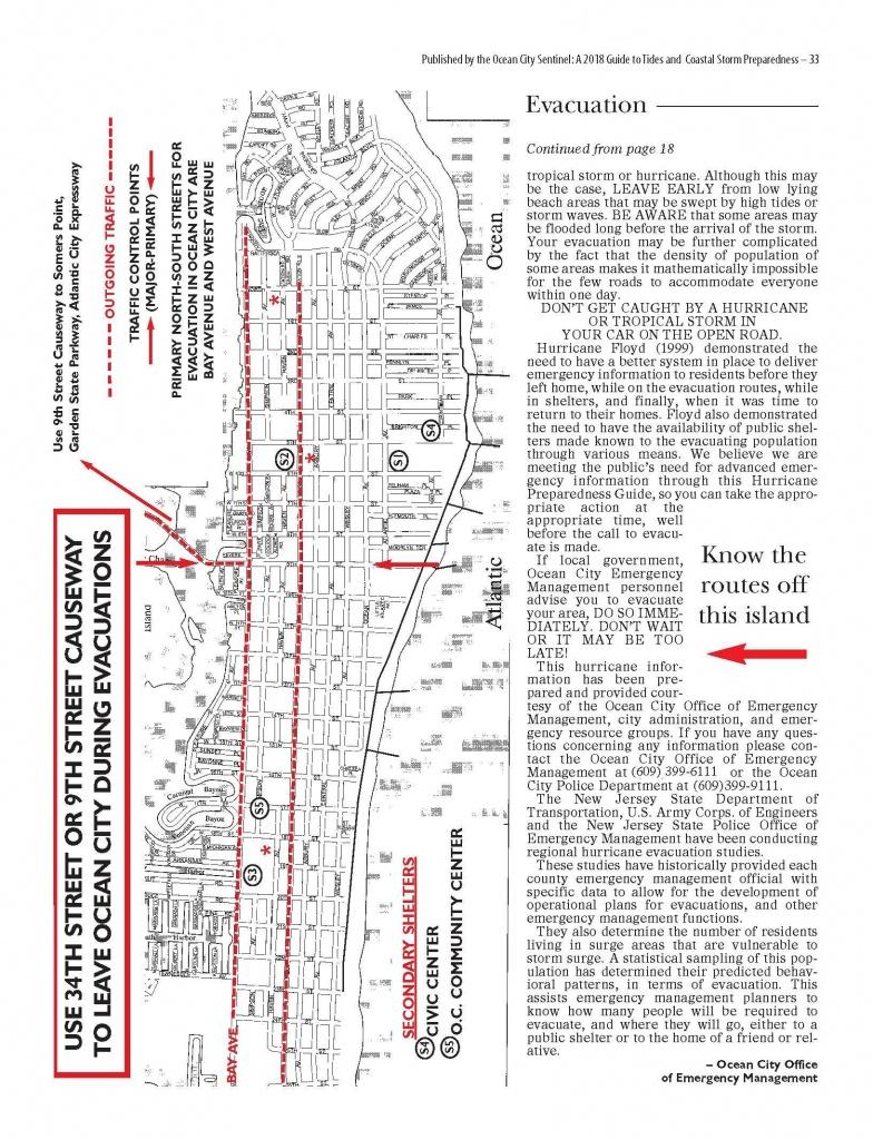Evacuation Route Map - Printable Street Map Ocean City Nj