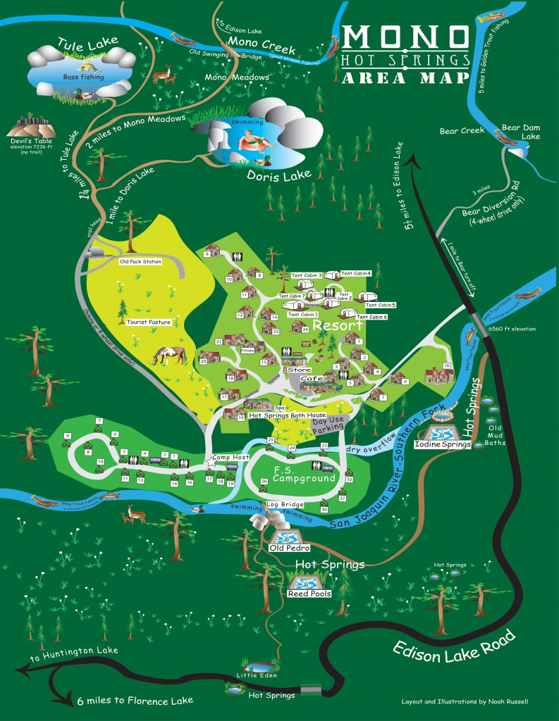 Facility Map - Mono Hot Springs - Hot Springs California Map