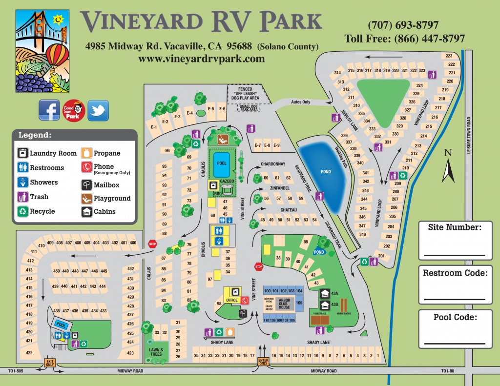 Facility Map – Vineyard Rv Park - California Rv Campgrounds Map