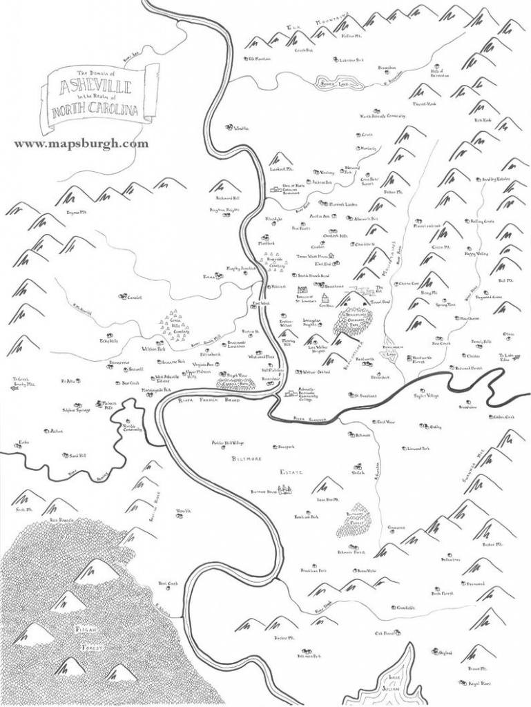 Fantasy Map Of Asheville Nc   Etsy - Printable Map Of Asheville Nc
