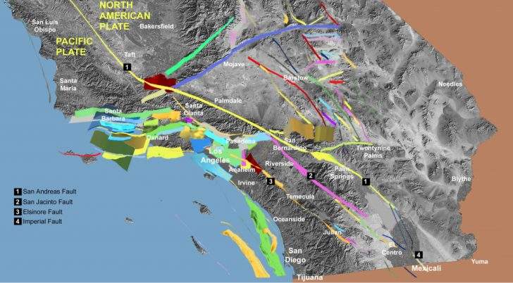 Map Of The San Andreas Fault In Southern California