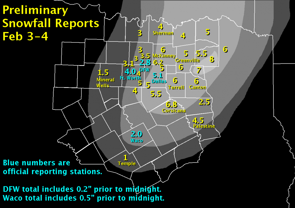 February 2011 Review - Waco Texas Weather Map