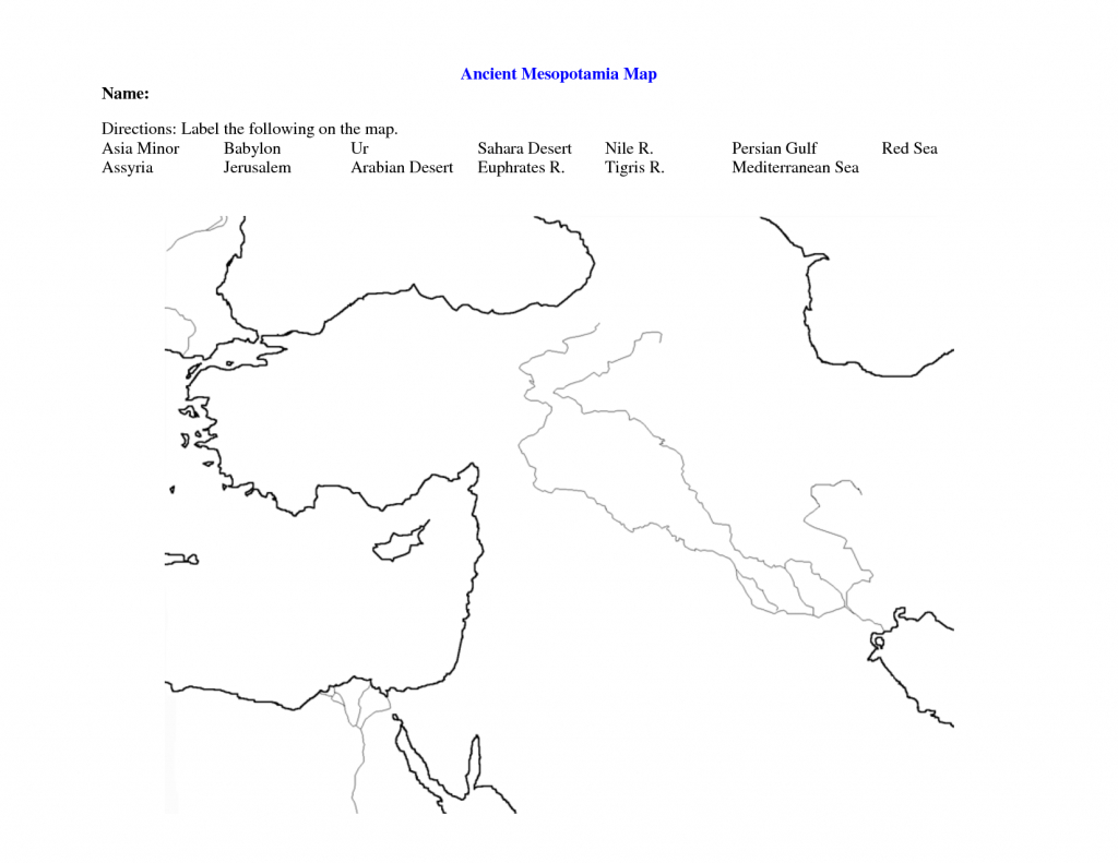 Fertile Crescent Map Worksheet - Google Search | World History 9 - Fertile Crescent Map Printable