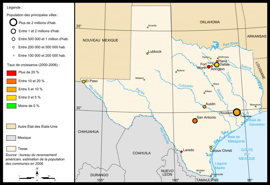 Fichier:map Of Texas Cities — Wikipédia - Texas Arkansas Map