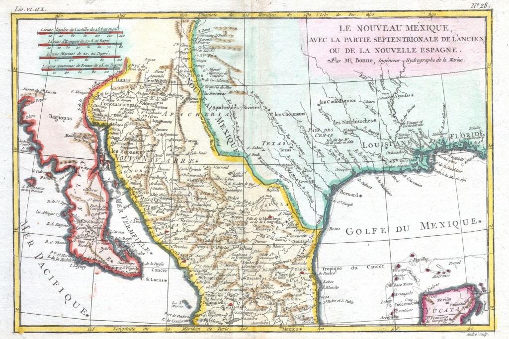 File:1780 Bonne Map Of Texas, Louisiana ^ New Mexico - Geographicus - Texas Louisiana Map