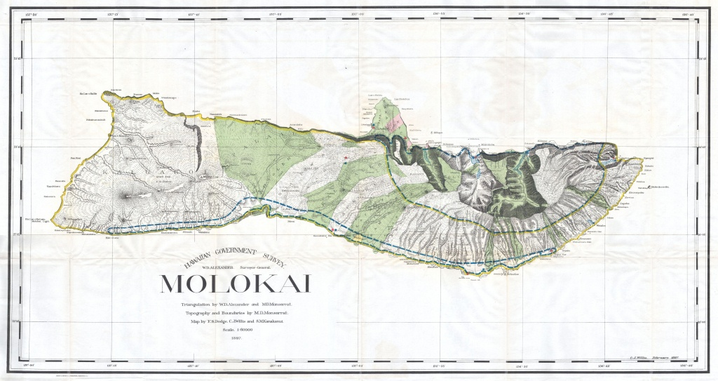 File:1897 Land Office Map Of The Island Of Molokai, Hawaii - Molokai Map Printable