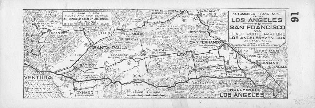 File:automobile Road From Los Angeles To San Francisco Via Coast - Aaa California Map