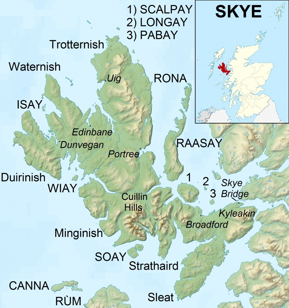 File:isle Of Skye Uk Relief Location Map Labels - Wikimedia Commons - Printable Map Skye