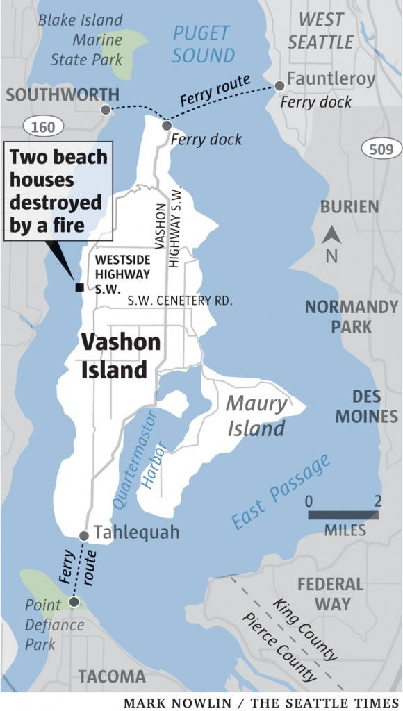 Fire Destroys Two Homes On West Side Of Vashon Island | The Seattle - Vashon Island Map Printable