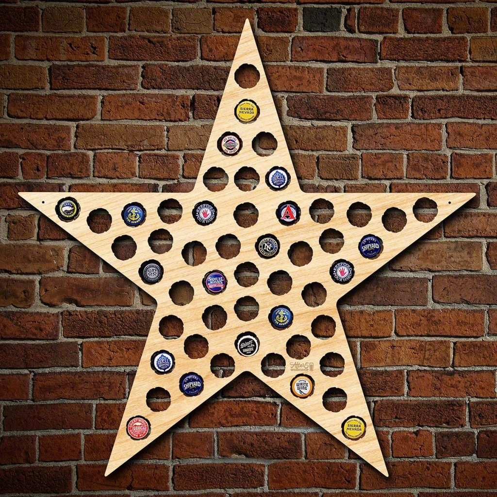 Five Point Texas Star Bottle Cap Holder - Texas Beer Cap Map