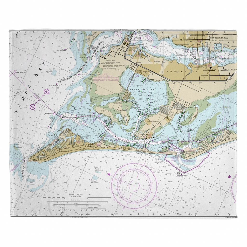 Fl: Anna Maria Island, Fl Nautical Chart Blanket - Nautical Maps Florida