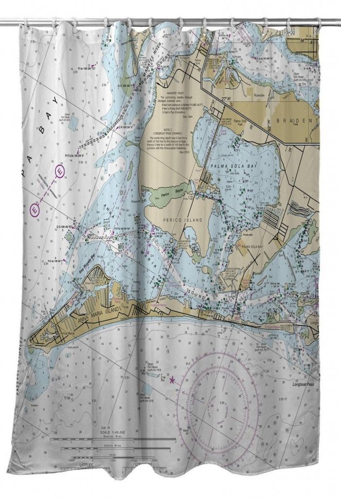 Fl: Anna Maria Island Fl Nautical Chart Shower Curtain Map | Etsy - Florida Map Shower Curtain