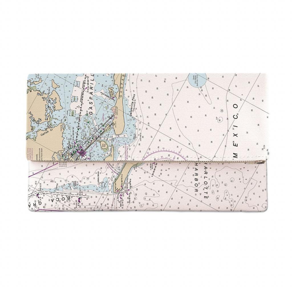 Fl: Gasparilla Island Fl Nautical Chart Clutch Map Clutch | Etsy - Florida Map Purse