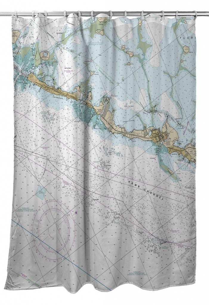 Fl: Islamorada, Fl (Close Up) Nautical Chart Shower Curtain In 2019 - Florida Map Shower Curtain