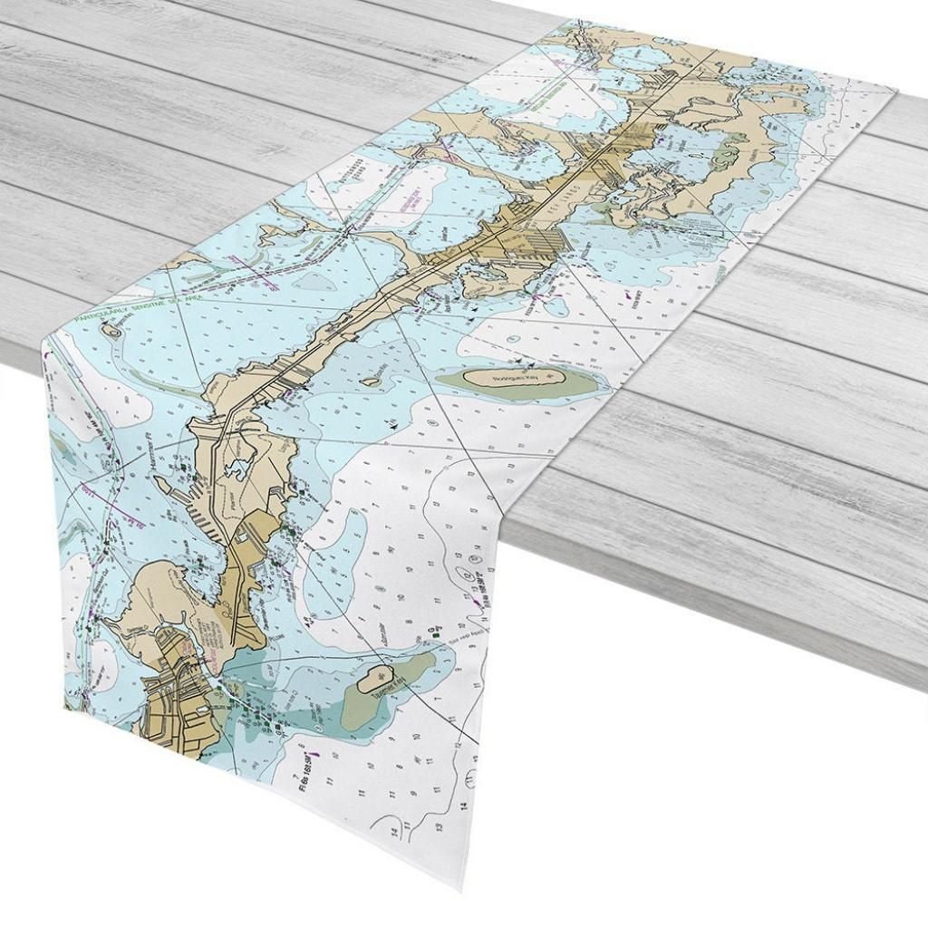 Fl: Key Largo Tavernier Fl Nautical Chart Table Runner   Etsy - Florida Keys Nautical Map