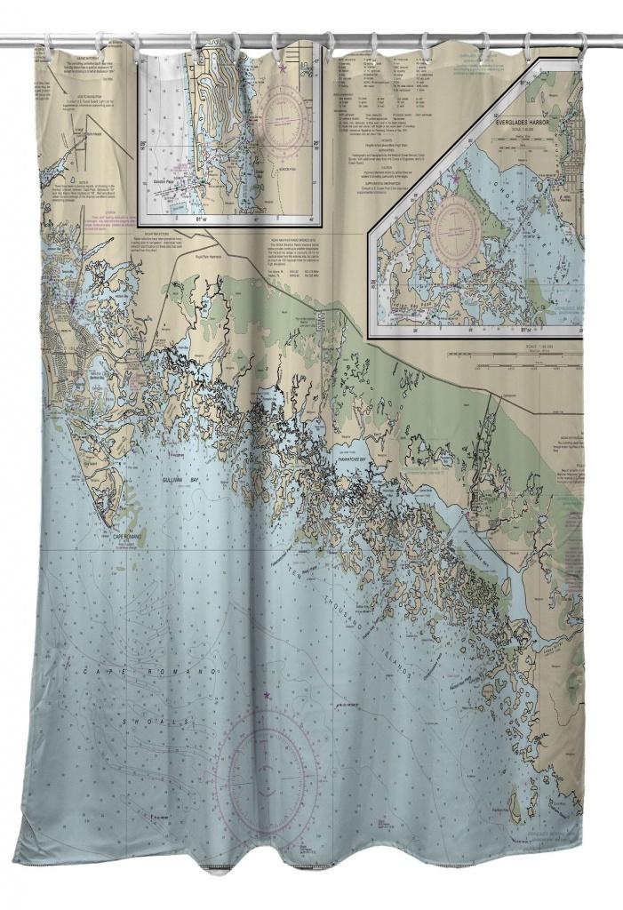 Fl: Ten Thousand Islands, Fl Nautical Chart Shower Curtain - Florida Map Shower Curtain