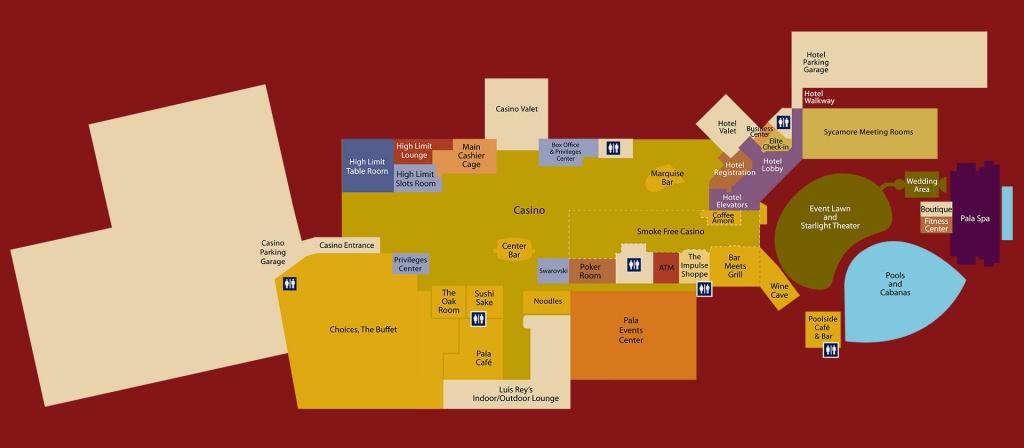 Floor Map - Pala Casino Spa & Resort - Map Of Casinos In Southern California