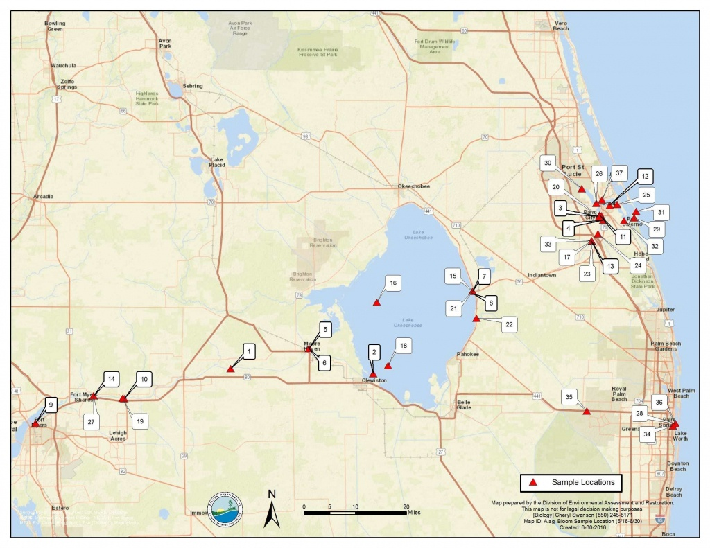 Florida Algal Bloom Report, 7-1-16 | Florida Fishing Report - Toxic Algae In Florida Map