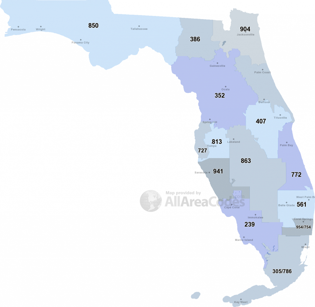 Florida Area Codes - Map, List, And Phone Lookup - Where Is Palm Harbor Florida On The Map