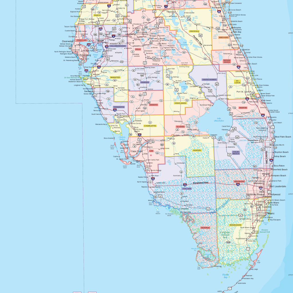 Florida County Wall Map - Maps - Florida Wall Maps For Sale