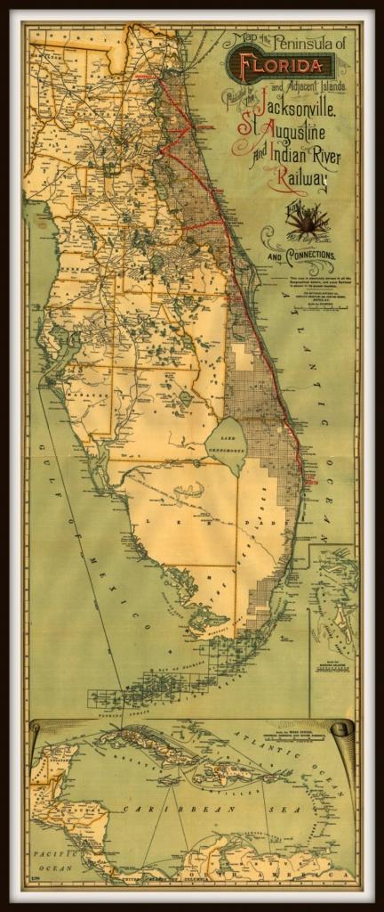 Florida East Coast Railroad Historic Map Print And Islands | Etsy - Map Of Florida East Coast