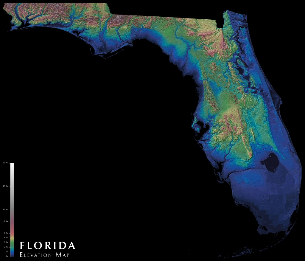 Florida Elevation Map : Florida - Florida Land Elevation Map