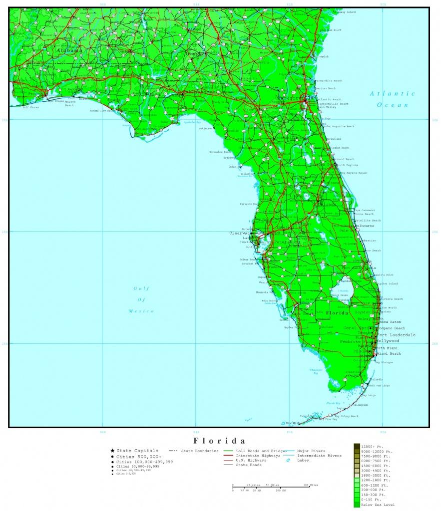 Florida Elevation Map - Map Of Florida Including Boca Raton