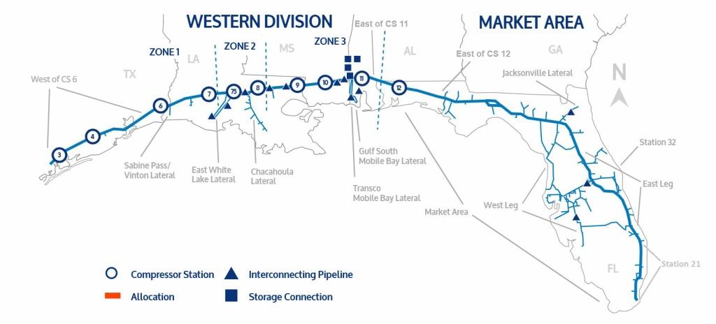 Florida Gas Transmission - Florida Natural Gas Map