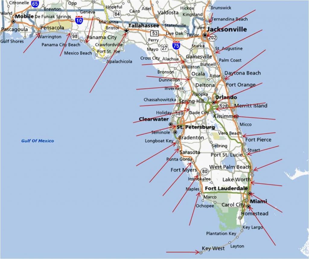 Florida Gulf Coast Beaches Map   M88M88 - Florida Gulf Coast Towns Map