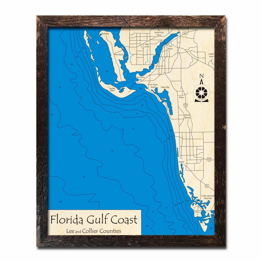 Florida Gulf Coast, Fl Nautical Wood Maps - Map Of Florida Gulf Coast Beach Towns