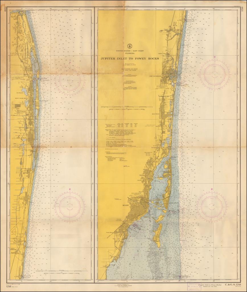 Florida Jupiter Inlet To Fowrey Rocks - Barry Lawrence Ruderman - Jupiter Inlet Florida Map