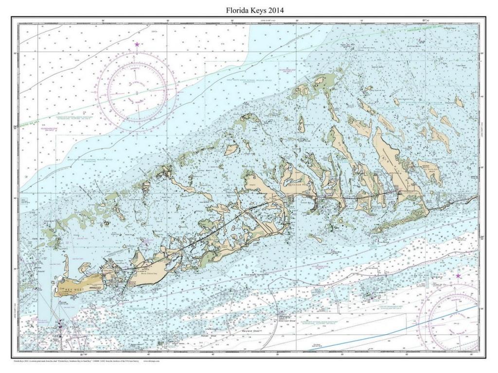 Florida Keys 2014 Nautical Map Florida Custom Print   Etsy - Florida Keys Nautical Map
