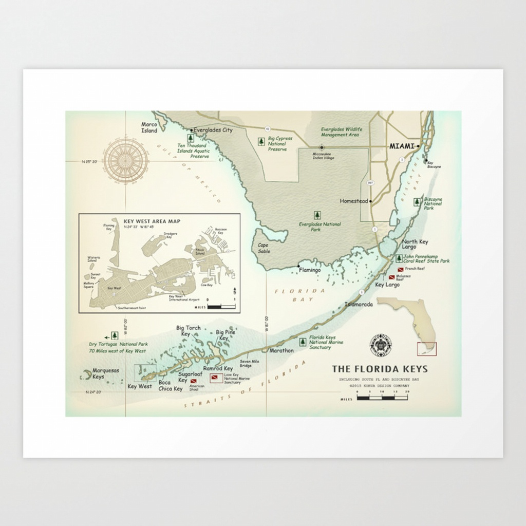 Florida Keys [Vintage Inspired] Area Map Art Print - Florida Keys Map Art