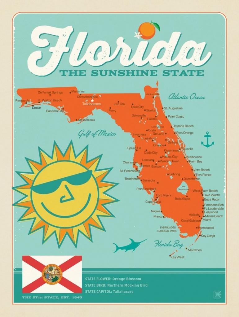 Florida Map | Anderson Design Group - Vintage Florida Map Poster