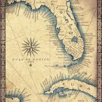 """Florida Map Art Print C .1865 11"""" X 14""""+, Hand Drawn Old Florida Map With  Cuba, Miami South Beach And The Florida Keys To Key West Map - Old Florida Maps For Sale"""