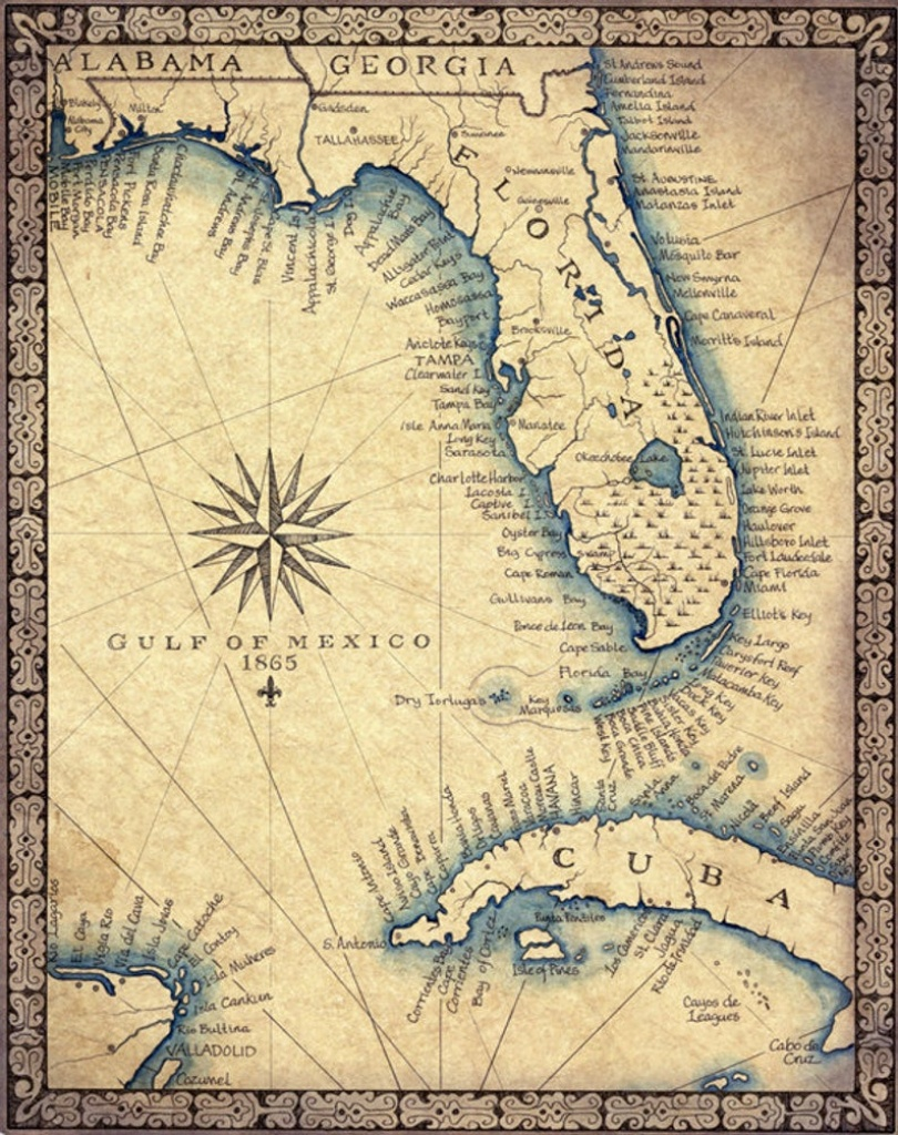 "Florida Map Art Print C .1865 11"" X 14""+, Hand Drawn Old Florida Map With  Cuba, Miami South Beach And The Florida Keys To Key West Map - Old Florida Maps For Sale"
