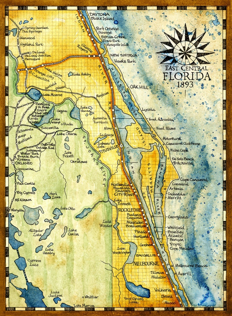 Florida Map Art Print C. 1893   Etsy - Florida Map Artwork