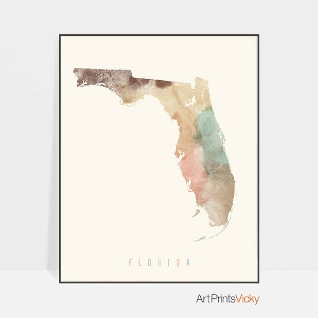 Florida Map Artwork Print Pastel Cream   Art Prints Vicky - Florida Map Artwork