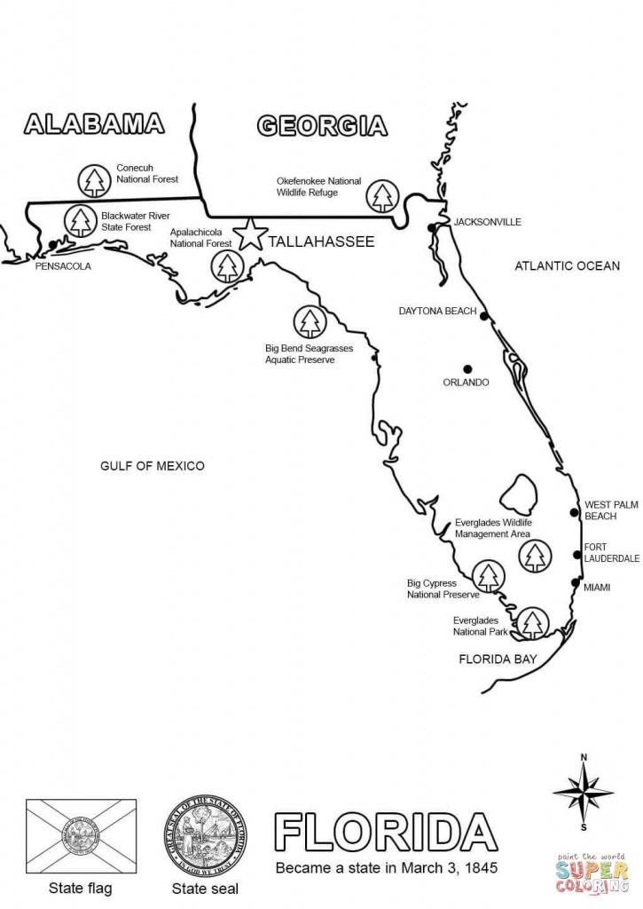 Florida Map Coloring Page   Free Printable Coloring Pages - Free Printable Map Of Florida