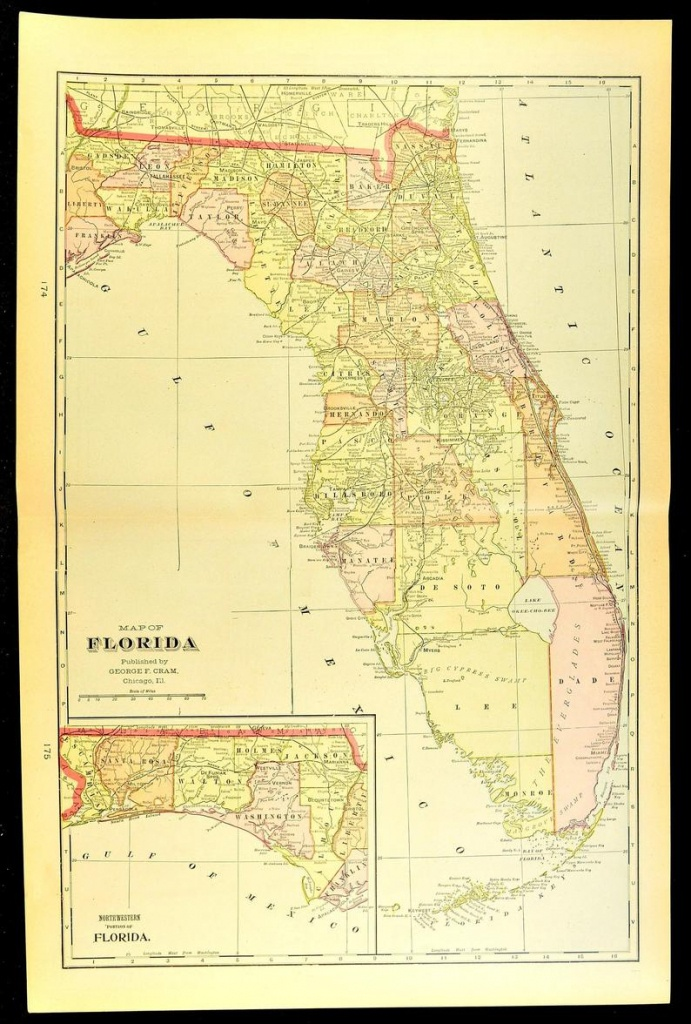Florida Map Of Florida Wall Art Decor Antique Large Early | Etsy - Florida Map Wall Decor
