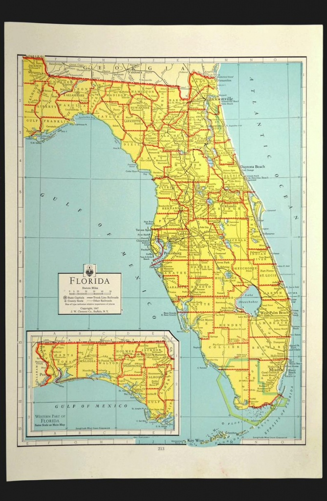 Florida Map Of Florida Wall Art Decor Colorful Yellow Vintage | Etsy - Map Of Florida Wall Art