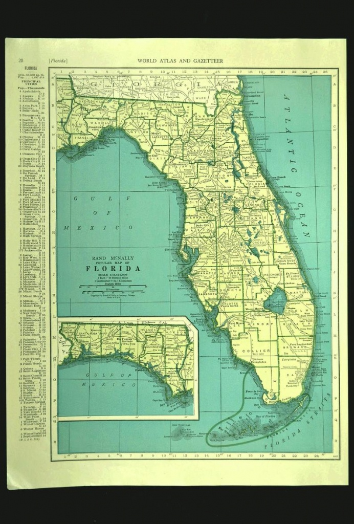 Florida Map Of Florida Wall Art Decor Print Vintage Old Green | Etsy - Florida Map Wall Decor
