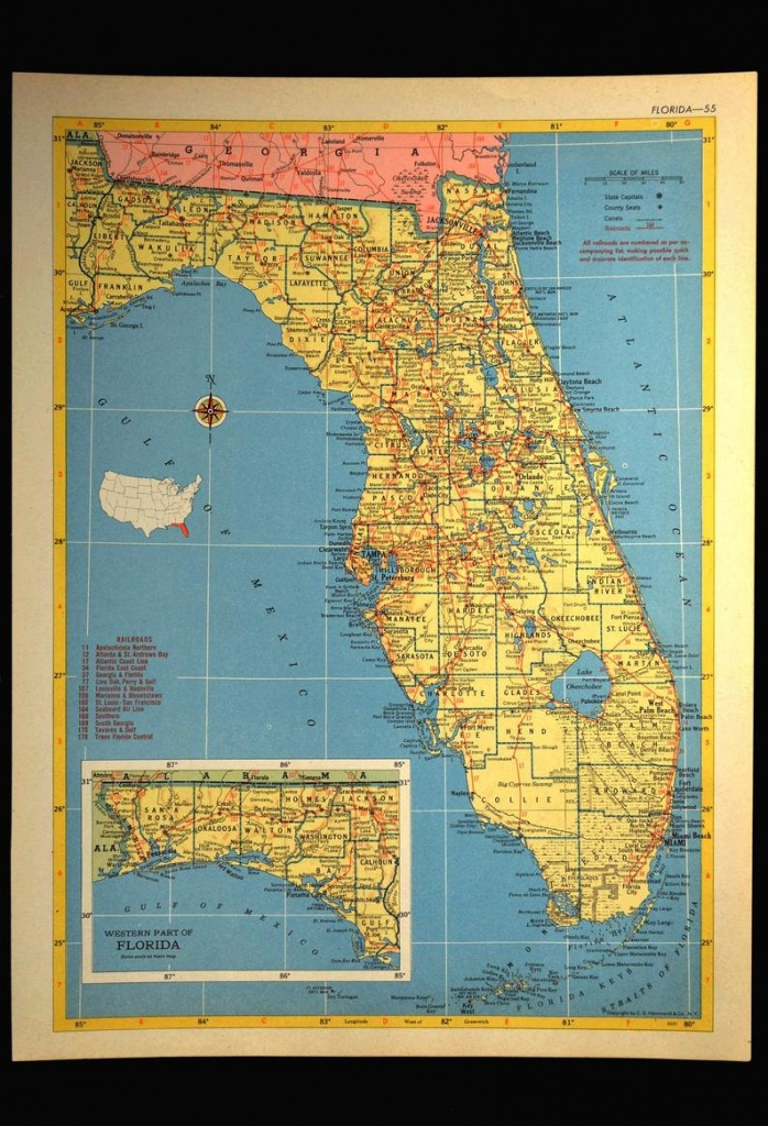 Florida Map Of Florida Wall Art Decor Vintage 1950S Original | Etsy - Florida Map Wall Art