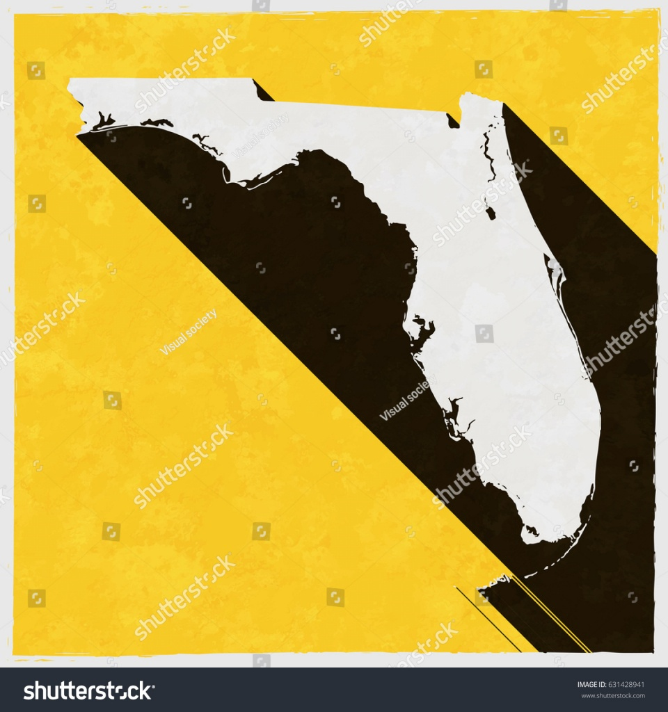 Florida Map On Retro Poster Long Stock Vector (Royalty Free - Vintage Florida Map Poster
