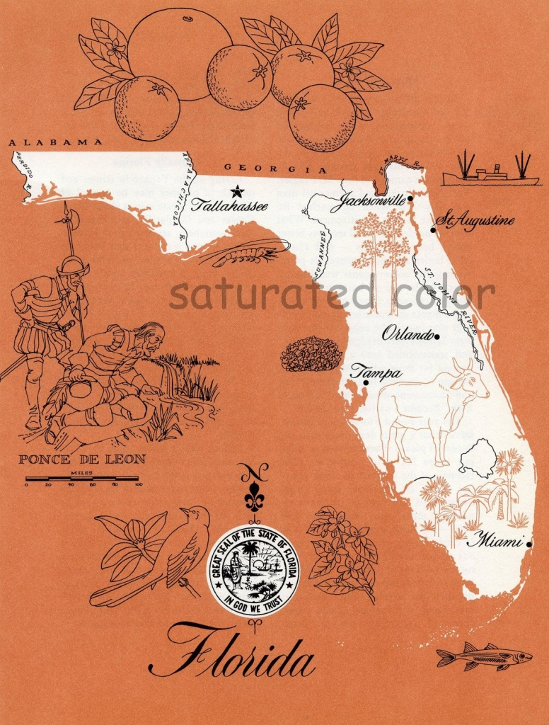 Florida Map - Original Vintage 1960S Picture Map - Fun Retro Colors - Where Are Oranges Grown In Florida Map